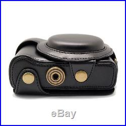 Leather Cover Case Bag For Sony HX50 HX50V Camera With Shoulder Strap Black