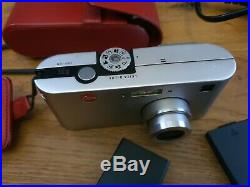 Leica D-Lux digital camera, silver limited edition Red leather case, with video