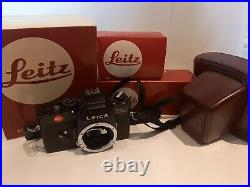 Leica R3 Electronic 35mm SLR Camera with Motor, Grip, Leather Case in Box