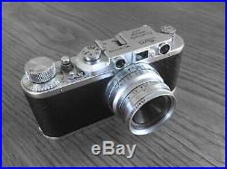 Leica ii rangefinder 35mm film camera in chrome finish with leather case & strap