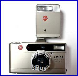 MINT LEICA MINILUX ZOOM 35mm FILM CAMERA & LEATHER CASE & CF Flash From Japan