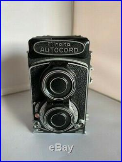 Minolta Autocord TLR Camera Rokkor 75mm f3.5 Lens withleather case and box