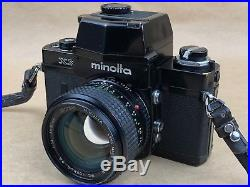 Minolta XK 35mm Film Camera with50mm F/1.4 Rokkor PG & Leather Case Works Great