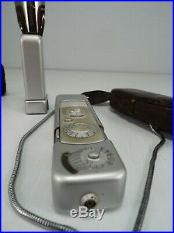 Minox A Subminiature/Spy Camera w. Flash, Film magnifier, Leather Case and Chain