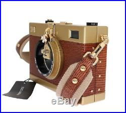 NEW $3200 DOLCE & GABBANA Bag Camera Case Brown Leather Shoulder Iconic Purse