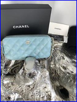NWT CHANEL 18C Iridescent Light Blue CAVIAR Double Zip WOC Camera Case Bag 2018