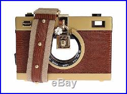 NWT DOLCE & GABBANA Bag Purse Camera Case Brown Leather Gold Shoulder Iconic