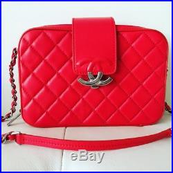 New CHANEL CC BOX Red Large CAMERA CASE