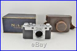 Nikon S 35mm Rangefinder Film Camera Body Silver with Leather Case #190506i