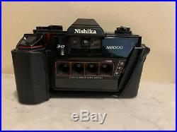 Nishika N8000 35mm 3-D Camera In Perfect Condition with Leather Case And Flash