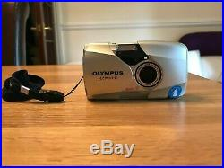 OLYMPUS MJU II 35MM COMPACT FILM CAMERA (SILVER) with ORIGINAL LEATHER CASE