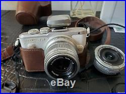 Olympus PEN E-PL8 Camera White + Leather Case (with 2 lenses 14-42mm and 45mm)