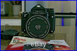Pentax 6x7 67 MLU Camera with 55mm F3.5 Takumar SMC Lens with Vintage LEather Case