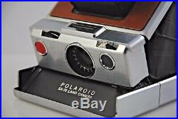 Polaroid SX-70 Silver Instant Film Camera, with Brown Leather Case