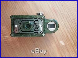 RARE Lime Green Coronet Midget 16mm 1930's Spy Camera with Green Leather Case