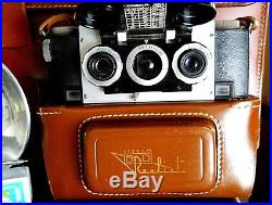 Realist Stereo 3d Film Camera Lot. Flash, Filter Set, Leather Case, Viewer, More