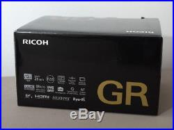Ricoh GR 16MP APS-C 18.3mm f/2.8 camera with leather case and 2 batteries
