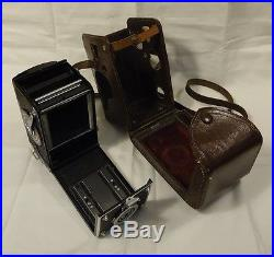 Rolleiflex 1937 Camera with Leather Case 6in x 4in x 4in DRP 615505