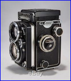 Rolleiflex 2.8E 80mm TLR Camera with Leather Case & Manual Military 120 Vintage