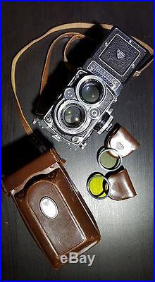 Rolleiflex 2.8F TLR Film Camera Planar 80mm F2.8 with Two filters & Leather case