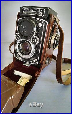 Rolleiflex Camera Vintage with Leather Carrying Case, Orig Receipt & Catalog