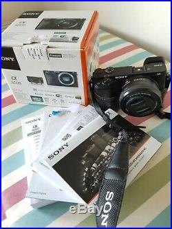 Sony Alpha A6000 24.3MP Digital Camera Black with real leather case
