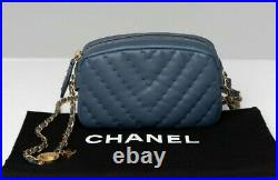 VERIFIED Authentic CHANEL Chevron Quilted Leather Medallion Mini Camera Case Bag