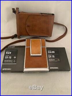 VINTAGE 1970s POLAROID SX-70 LAND CAMERA! With Leather Case & Film! Nice Condition