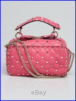 Valentino Pink Quilted Leather Rockstud Spike Camera Case Crossbody Bag