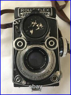 Vintage Beautiful Rollei Rolleiflex Planar 3.5f Tlr Camera With Leather Case
