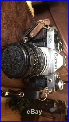 Vintage Canon AE-1 35mm SLR Film Camera With macro lense and leather case