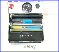Vintage Chrome Polaroid SX-70 Land Camera with Leather Case Untested