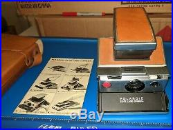 Vintage POLAROID SX-70 Land Camera with Leather Case & Instructions
