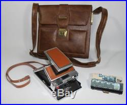 Vintage Polaroid SX-70 Land Camera Alpha 1 with Leather Case Flashes