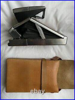 Vintage Polaroid SX-70 Land Camera with Tan Leather in Case