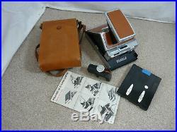 Vintage Polaroid Sx-70 Land Camera With Leather Case & Instuctions