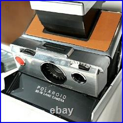 Vintage USA Made Polaroid SX 70 Land Camera with Original Leather Case and Flash