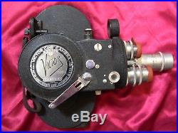 Vintage Victor Cine Model 4 16mm Movie Camera with Leather Case and Three Lenses