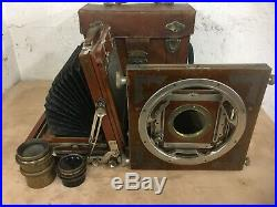 Vintage WWII 4 x 5 Field Camera with European Lenses and Leather Case