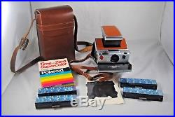 Vintage hard to find ALPHA 1 Polaroid SX-70 camera with leather case & accessories