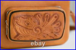 Vintage leather Hand Tooled Structured Camera Case Bag Mexico Mayan Calendar
