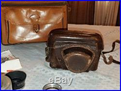 Vtg 50s LEICA M3 DBP double stroke camera S/N 709 656 with Lenses & leather cases