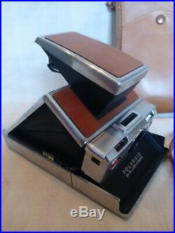 Vtg Polaroid brown leather SX 70 Land camera instant film camera With case #2B