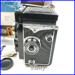 YASHICA MAT EM 66 TLR CAMERA MEDIUM FORMAT With LEATHER CASE MANUAL BOX EUC RARE