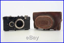 Zeiss Contax I F 35mm Film Rangefinder Camera Body with Leather Case V06