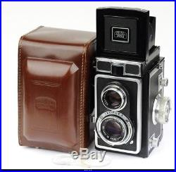 Zeiss Ikon Ikoflex IC 1C camera with Tessar 75mm f3.5 and leather case Mint